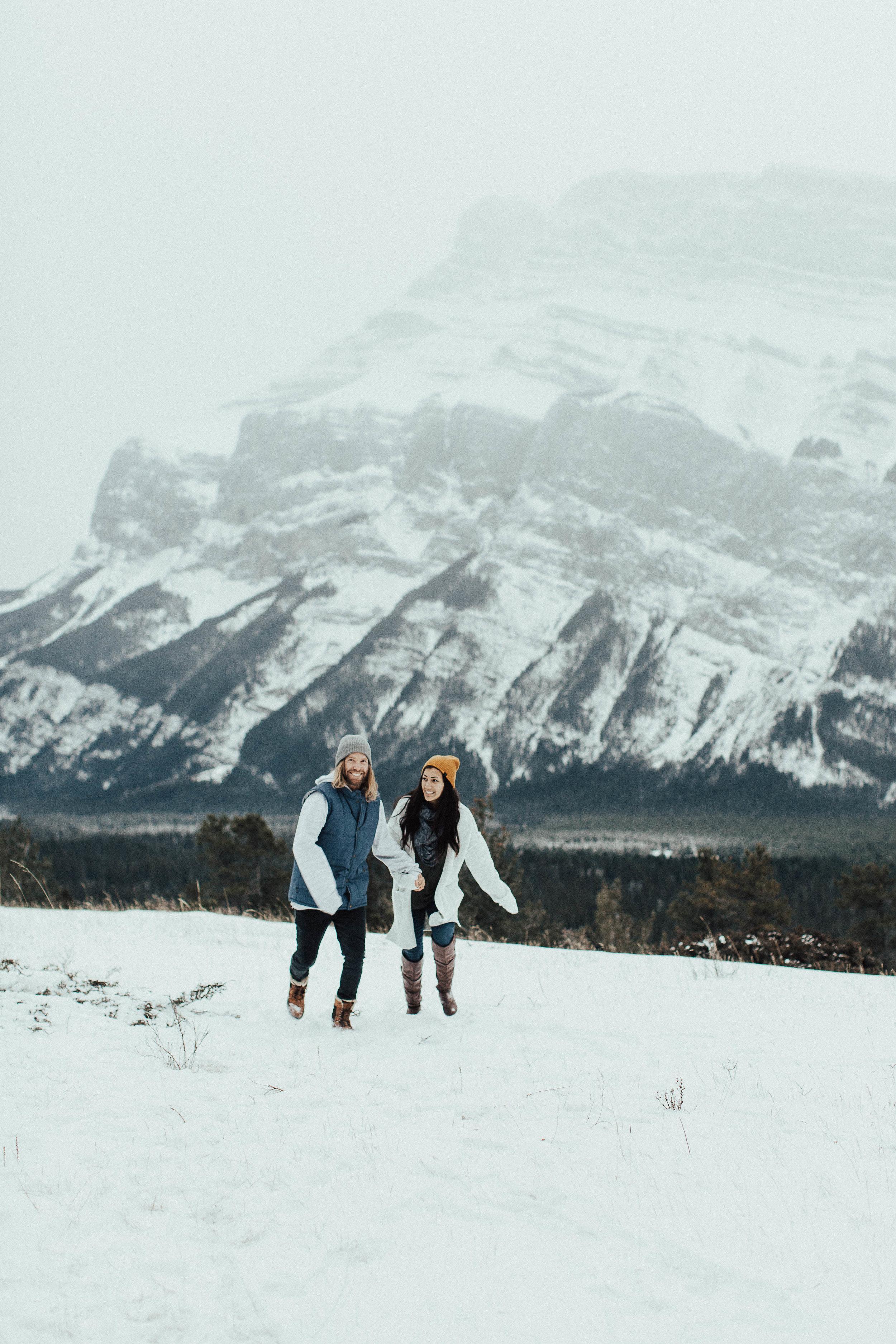 Banff Engagement Photographer - Winter Mountain Adventure Engagement Session - Michelle Larmand Photography-010