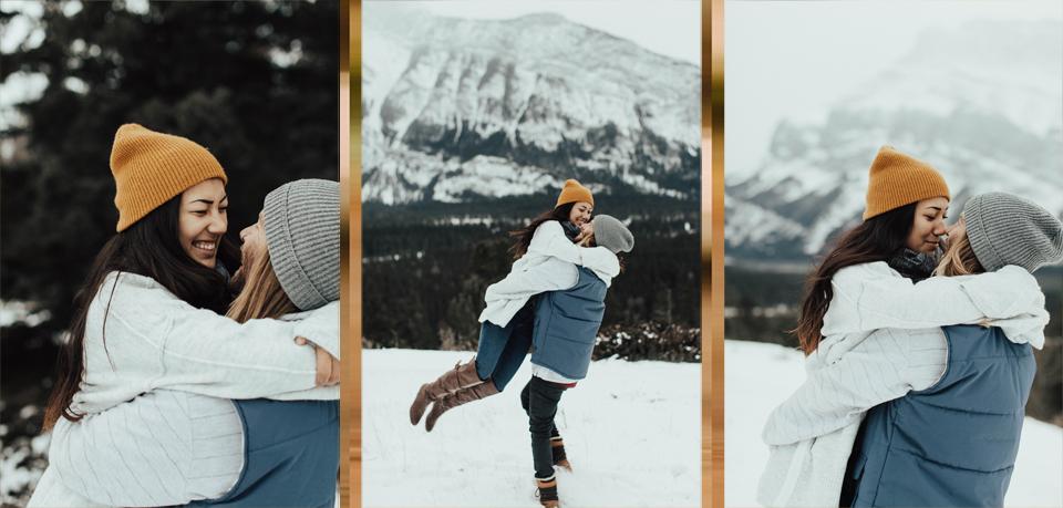 Banff Engagement Photographer - Winter Mountain Adventure Engagement Session - Michelle Larmand Photography-012