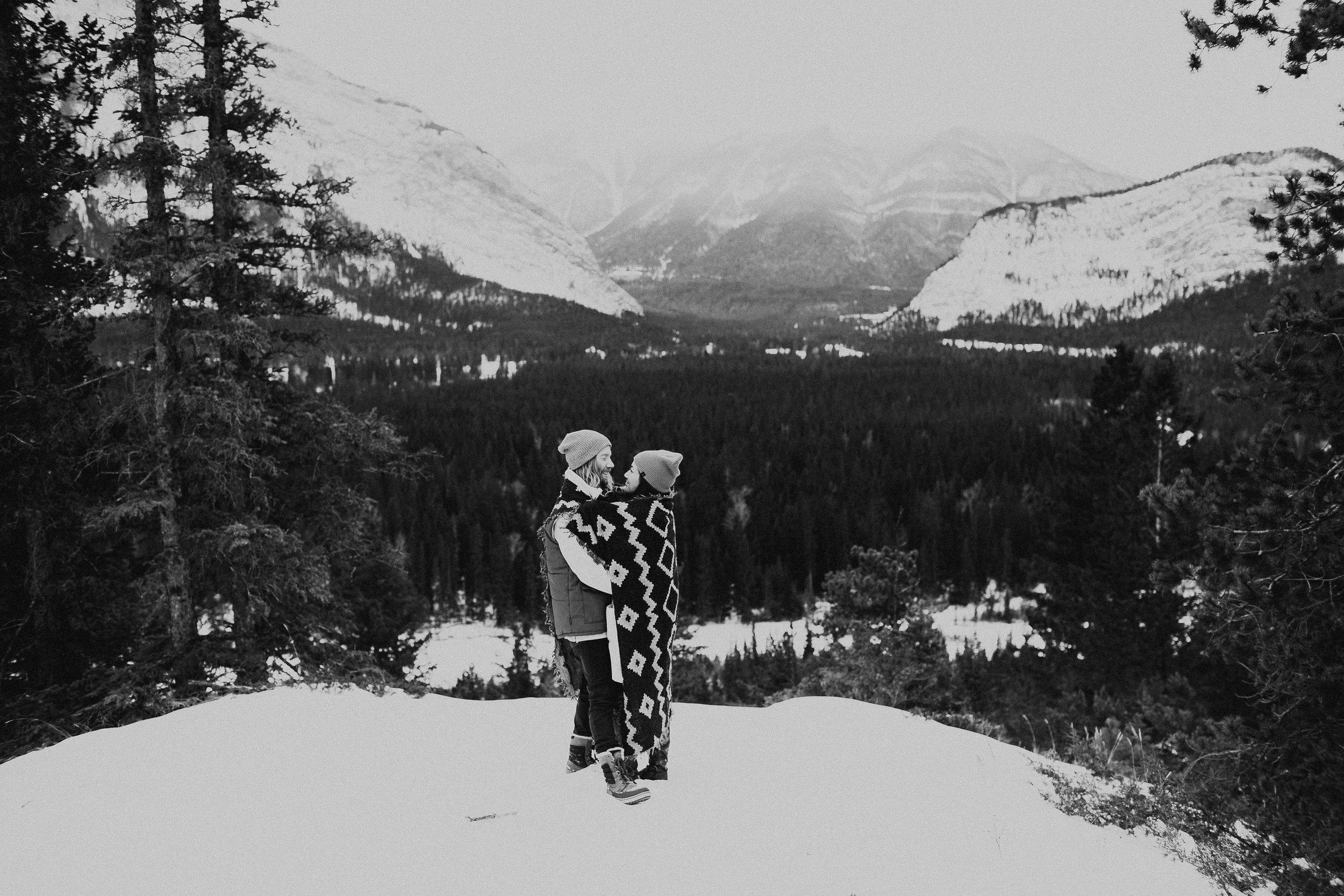 Banff Engagement Photographer - Winter Mountain Adventure Engagement Session - Michelle Larmand Photography-020
