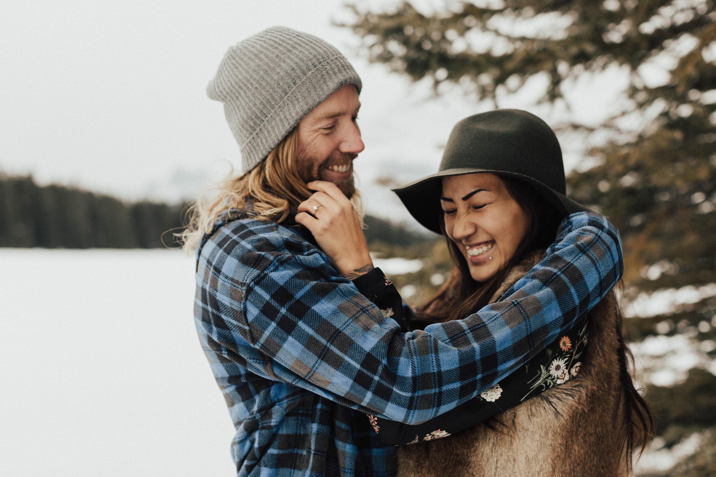 Banff Engagement Photographer - Winter Mountain Adventure Engagement Session - Michelle Larmand Photography-027