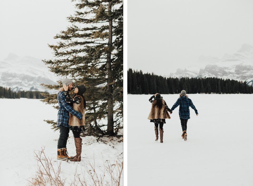 Banff Engagement Photographer - Winter Mountain Adventure Engagement Session - Michelle Larmand Photography-028