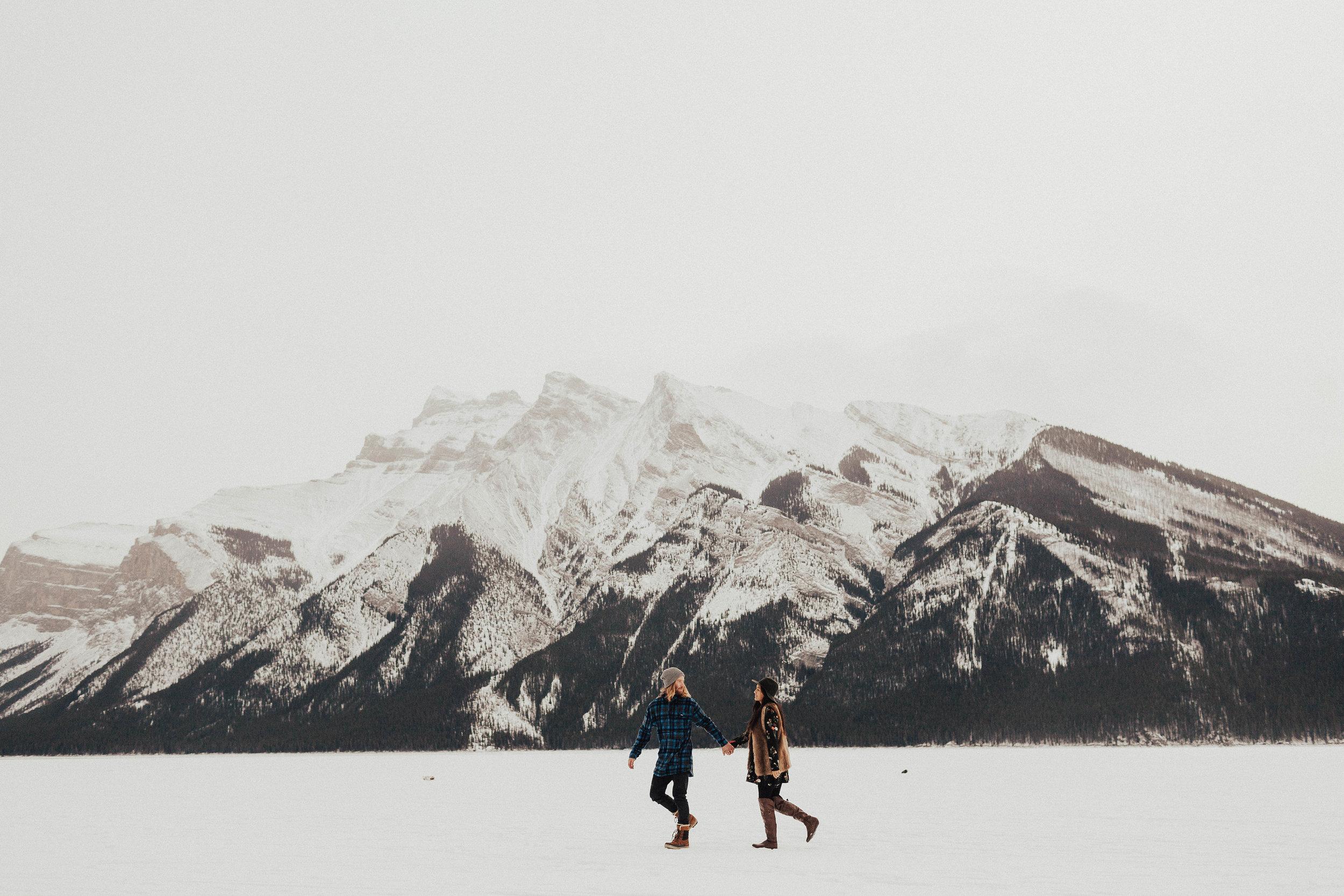 Banff Engagement Photographer - Winter Mountain Adventure Engagement Session - Michelle Larmand Photography-034