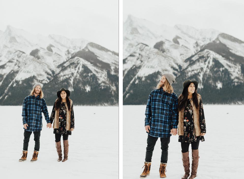 Banff Engagement Photographer - Winter Mountain Adventure Engagement Session - Michelle Larmand Photography-035