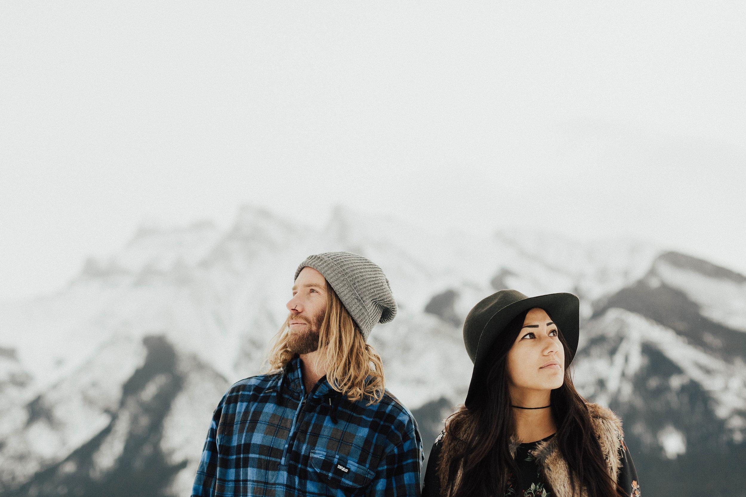 Banff Engagement Photographer - Winter Mountain Adventure Engagement Session - Michelle Larmand Photography-037