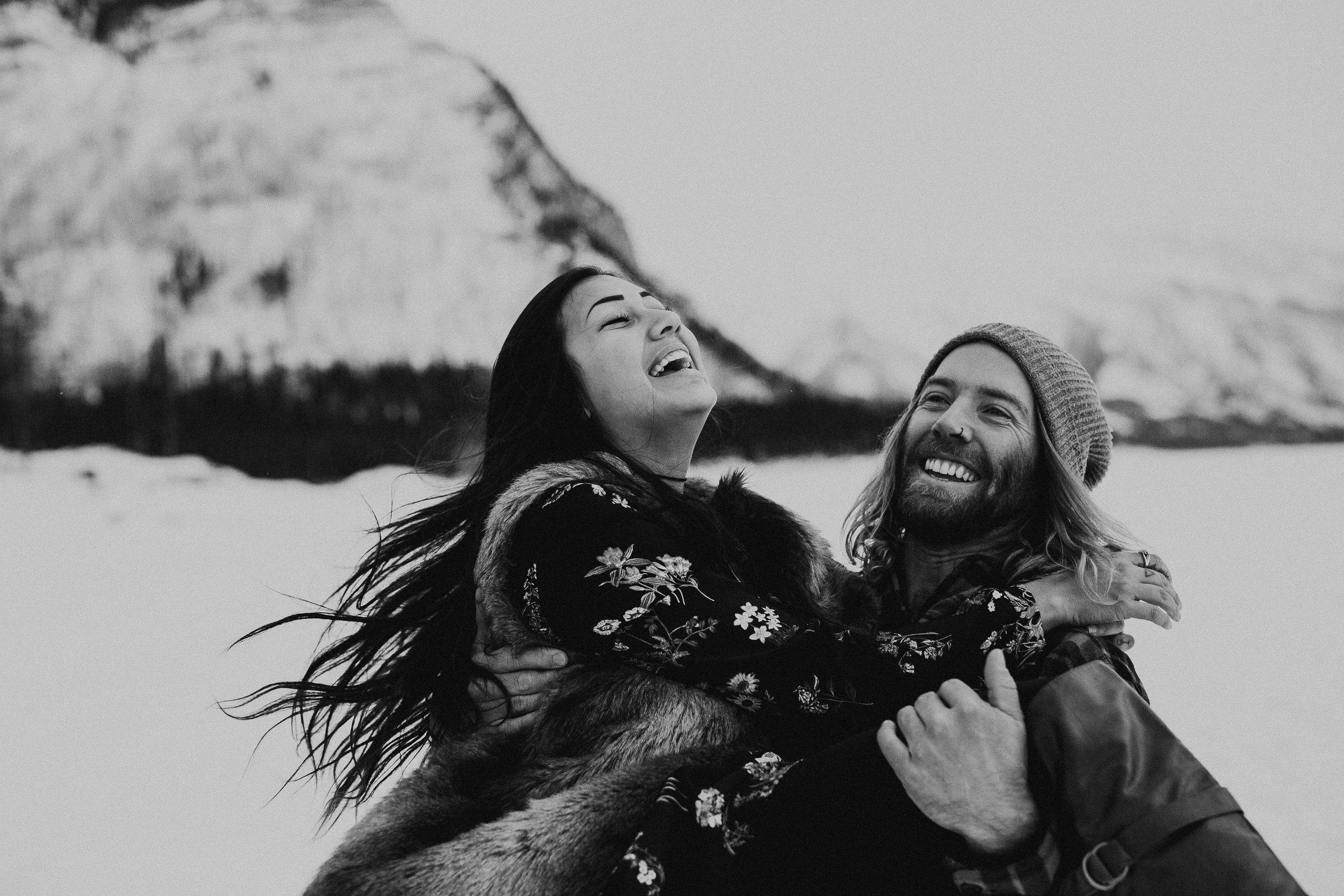 Banff Engagement Photographer - Winter Mountain Adventure Engagement Session - Michelle Larmand Photography-046