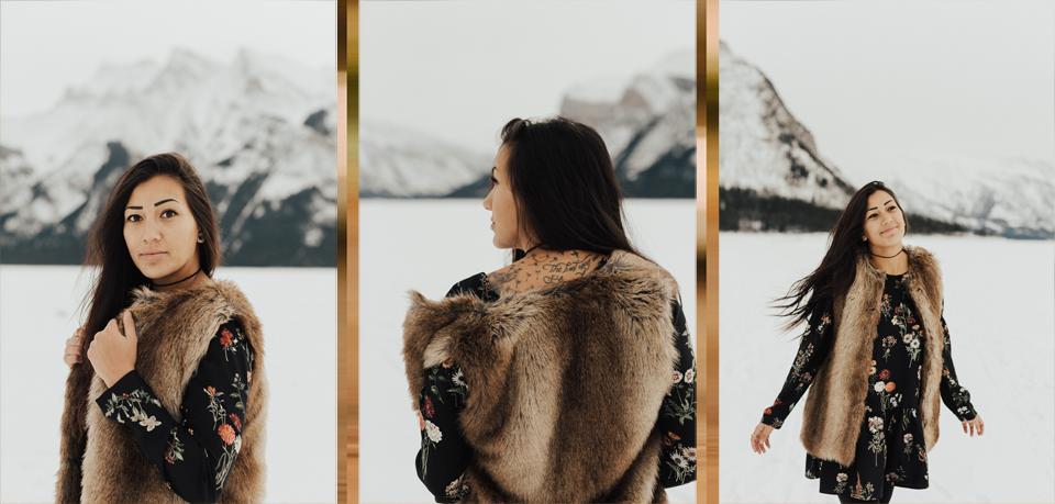 Banff Engagement Photographer - Winter Mountain Adventure Engagement Session - Michelle Larmand Photography-049