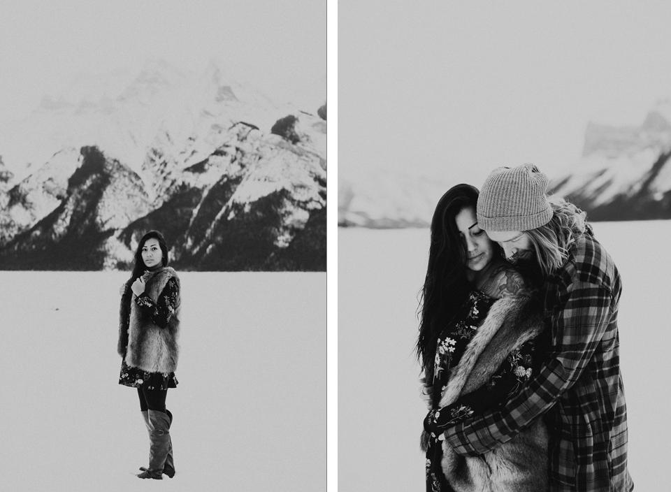 Banff Engagement Photographer - Winter Mountain Adventure Engagement Session - Michelle Larmand Photography-050