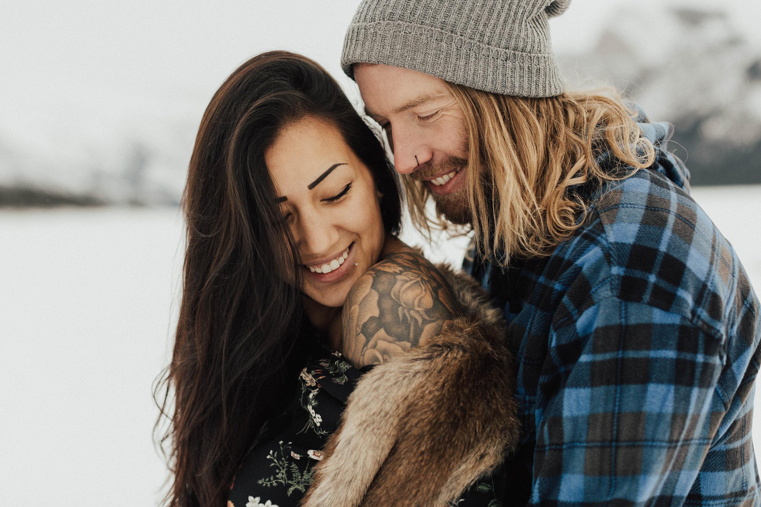 Banff Engagement Photographer - Winter Mountain Adventure Engagement Session - Michelle Larmand Photography-052