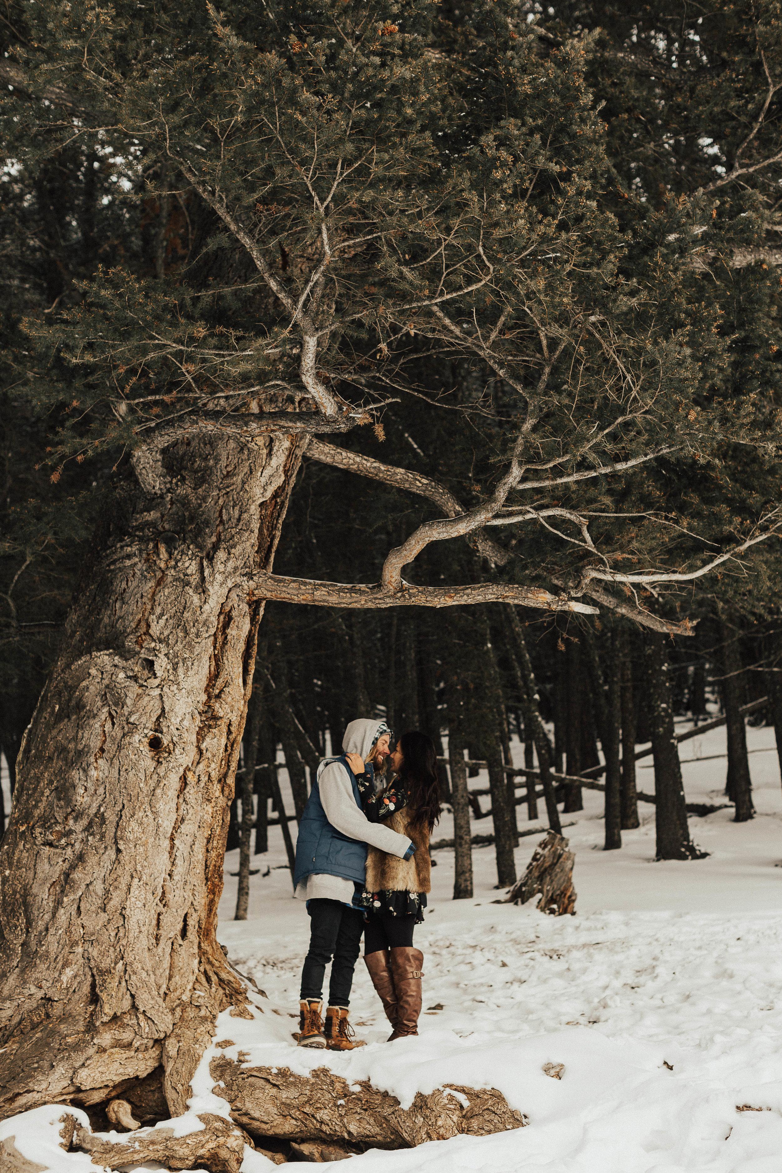 Banff Engagement Photographer - Winter Mountain Adventure Engagement Session - Michelle Larmand Photography-058