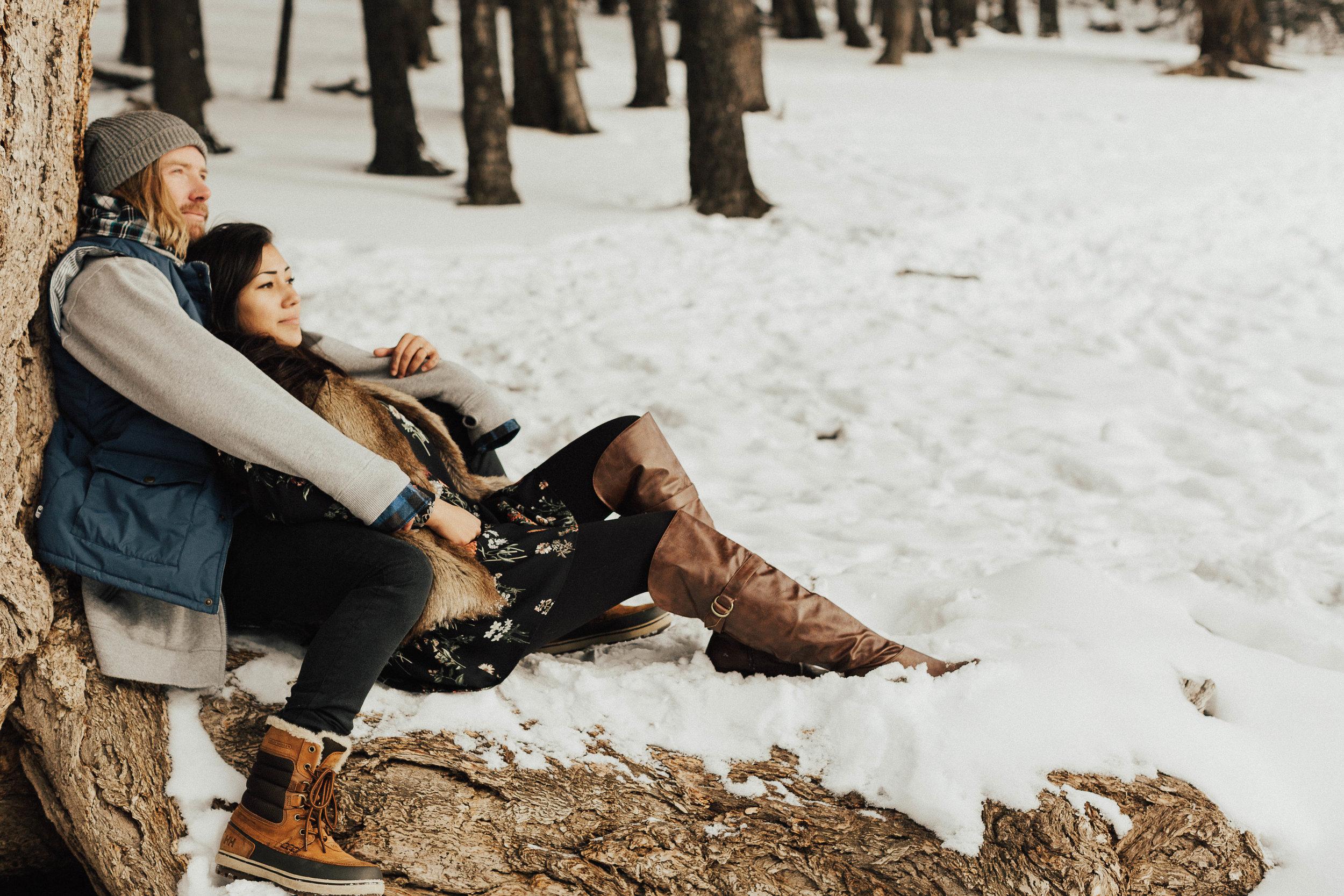 Banff Engagement Photographer - Winter Mountain Adventure Engagement Session - Michelle Larmand Photography-061