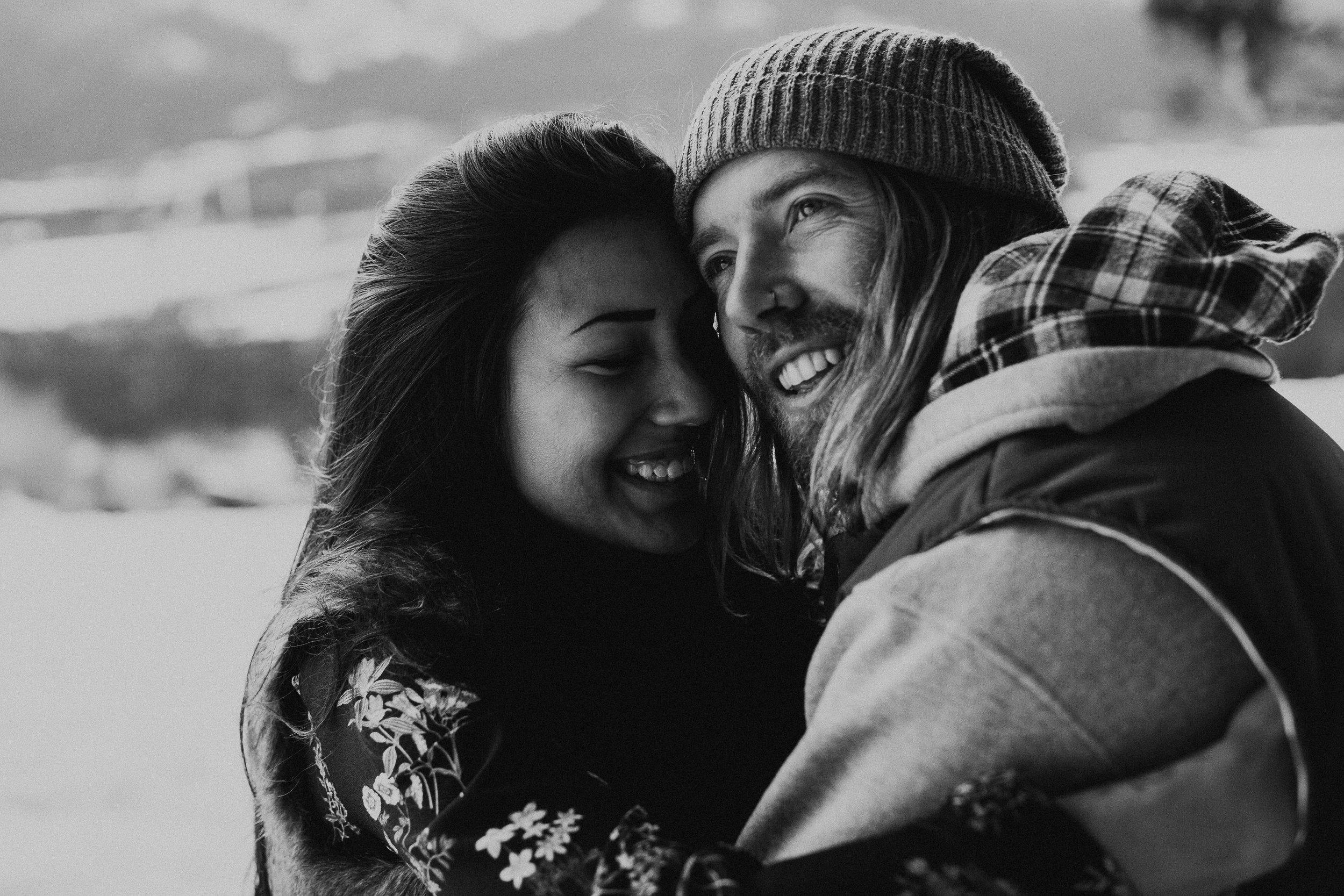 Banff Engagement Photographer - Winter Mountain Adventure Engagement Session - Michelle Larmand Photography-068
