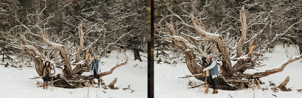 Banff Engagement Photographer - Winter Mountain Adventure Engagement Session - Michelle Larmand Photography-072