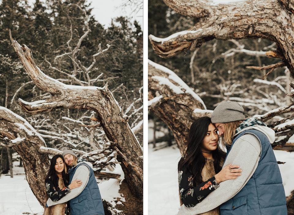 Banff Engagement Photographer - Winter Mountain Adventure Engagement Session - Michelle Larmand Photography-075