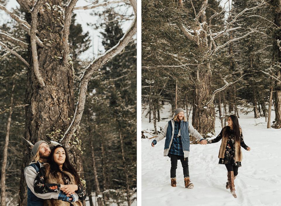 Banff Engagement Photographer - Winter Mountain Adventure Engagement Session - Michelle Larmand Photography-079