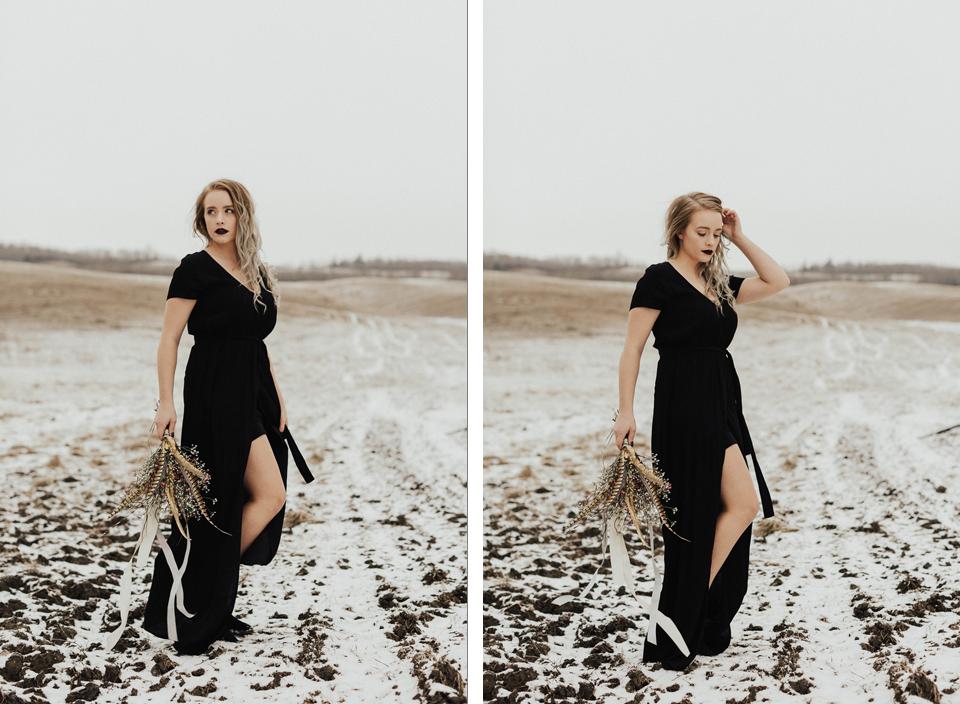 Moody Winter Bridals Edmonton Portrait and Wedding Photographer - Michelle Larmand Photography -003