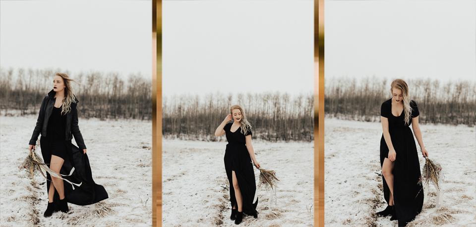 Moody Winter Bridals Edmonton Portrait and Wedding Photographer - Michelle Larmand Photography -008