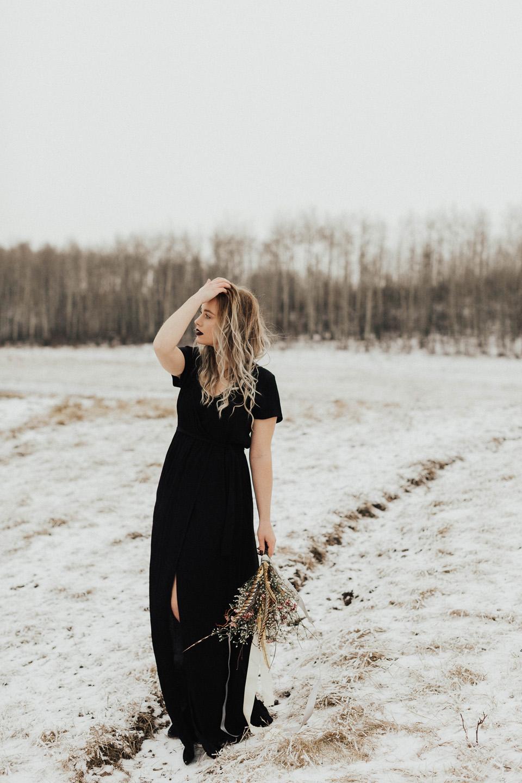 Moody Winter Bridals Edmonton Portrait and Wedding Photographer - Michelle Larmand Photography -014