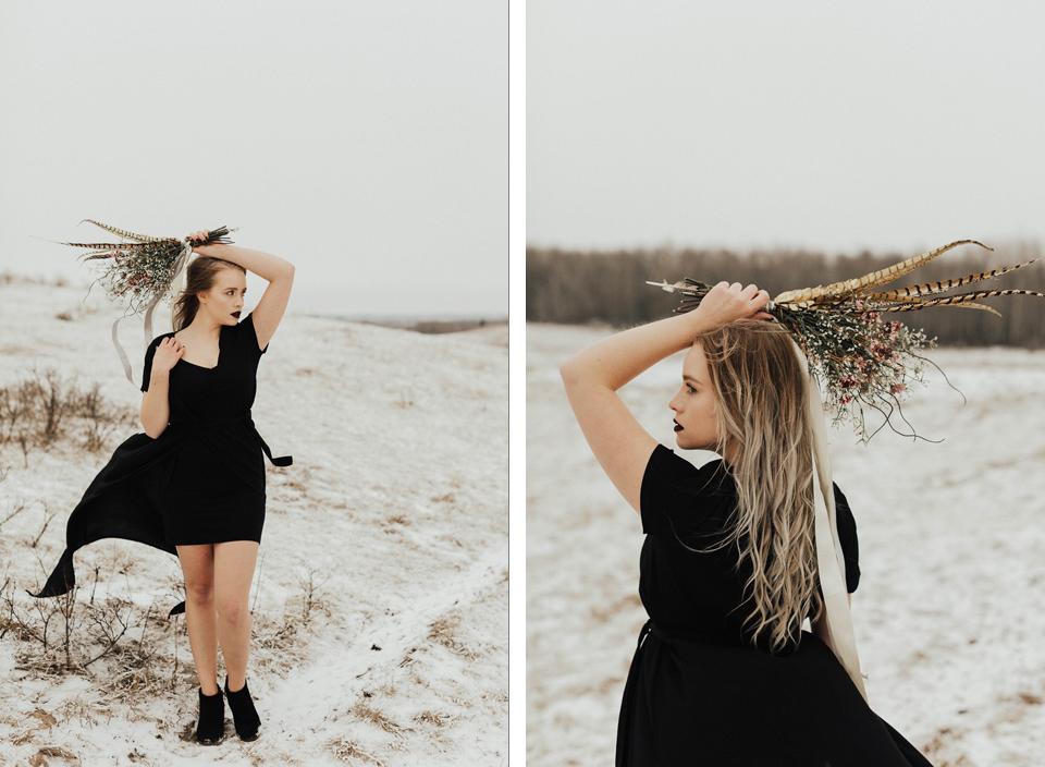 Moody Winter Bridals Edmonton Portrait and Wedding Photographer - Michelle Larmand Photography -022