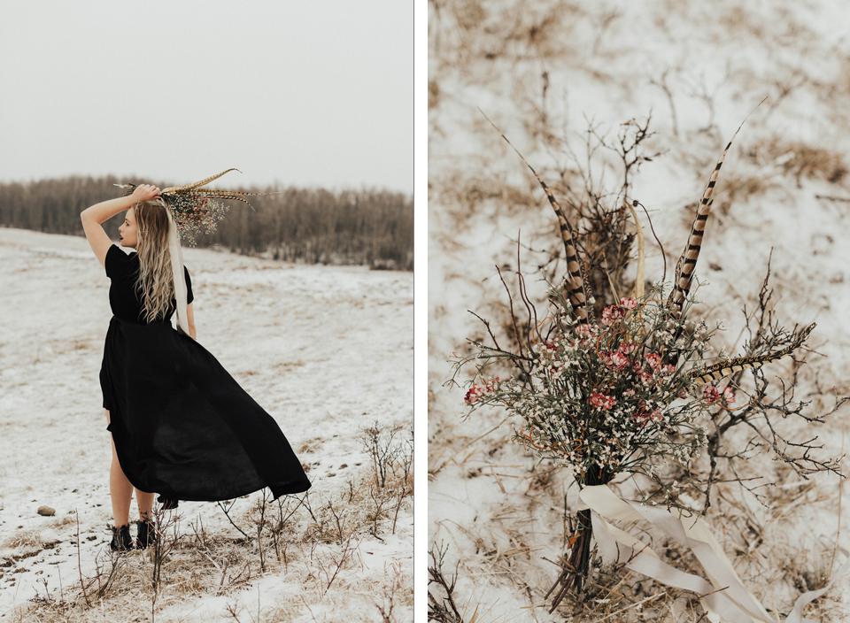 Moody Winter Bridals Edmonton Portrait and Wedding Photographer - Michelle Larmand Photography -023