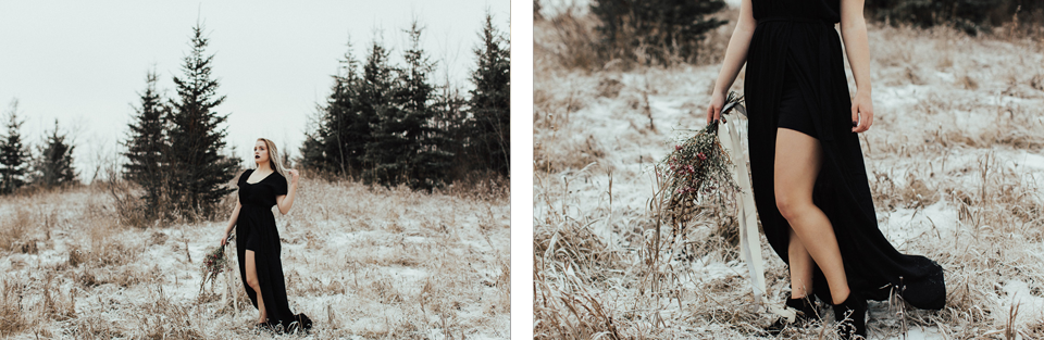 Moody Winter Bridals Edmonton Portrait and Wedding Photographer - Michelle Larmand Photography -036