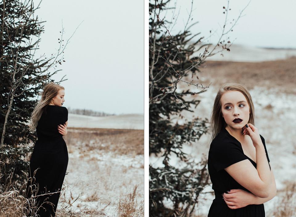 Moody Winter Bridals Edmonton Portrait and Wedding Photographer - Michelle Larmand Photography -050