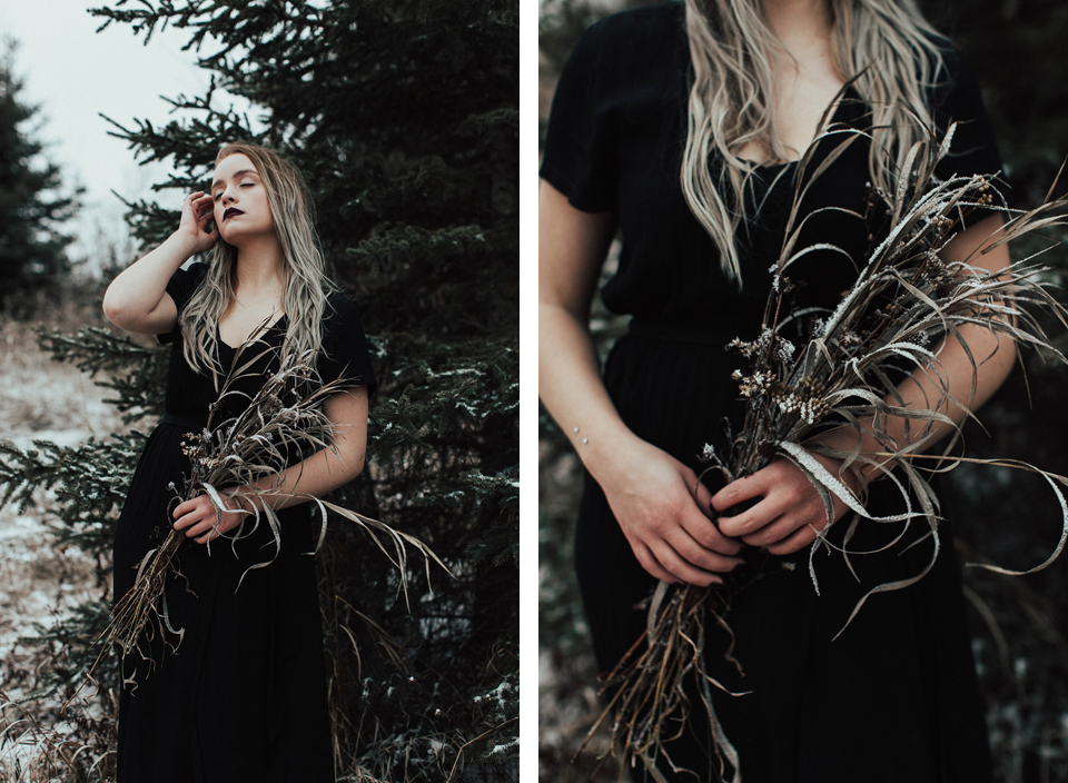 Moody Winter Bridals Edmonton Portrait and Wedding Photographer - Michelle Larmand Photography -054