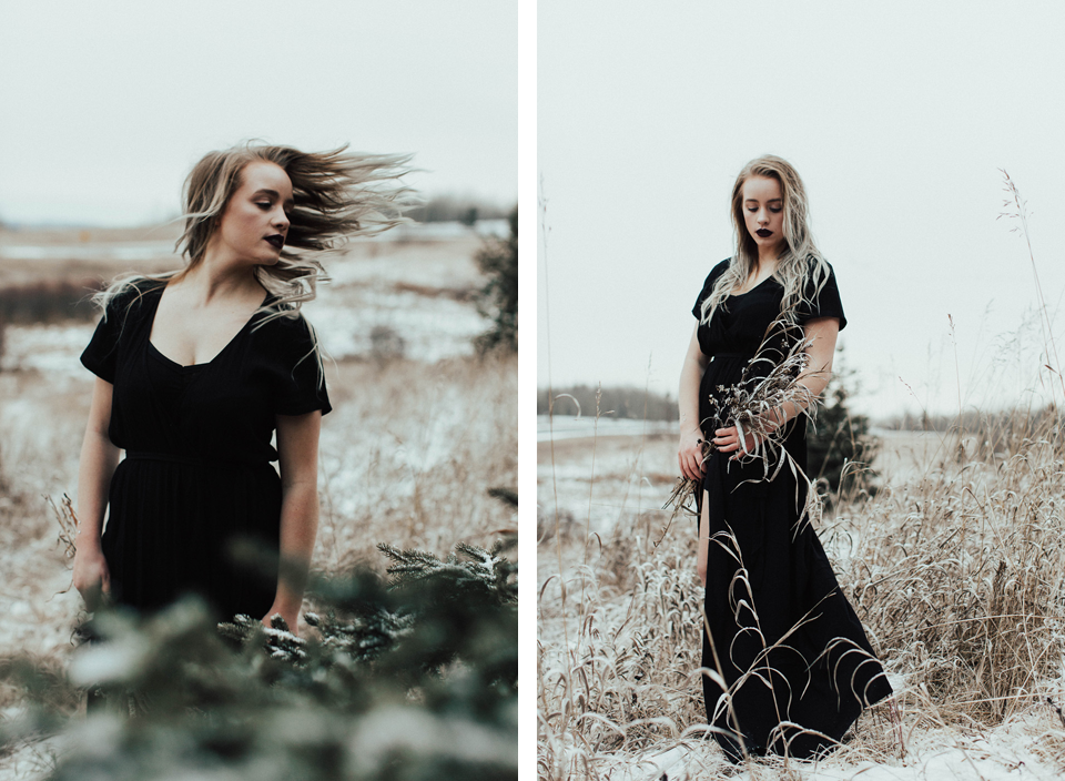 Moody Winter Bridals Edmonton Portrait and Wedding Photographer - Michelle Larmand Photography -058