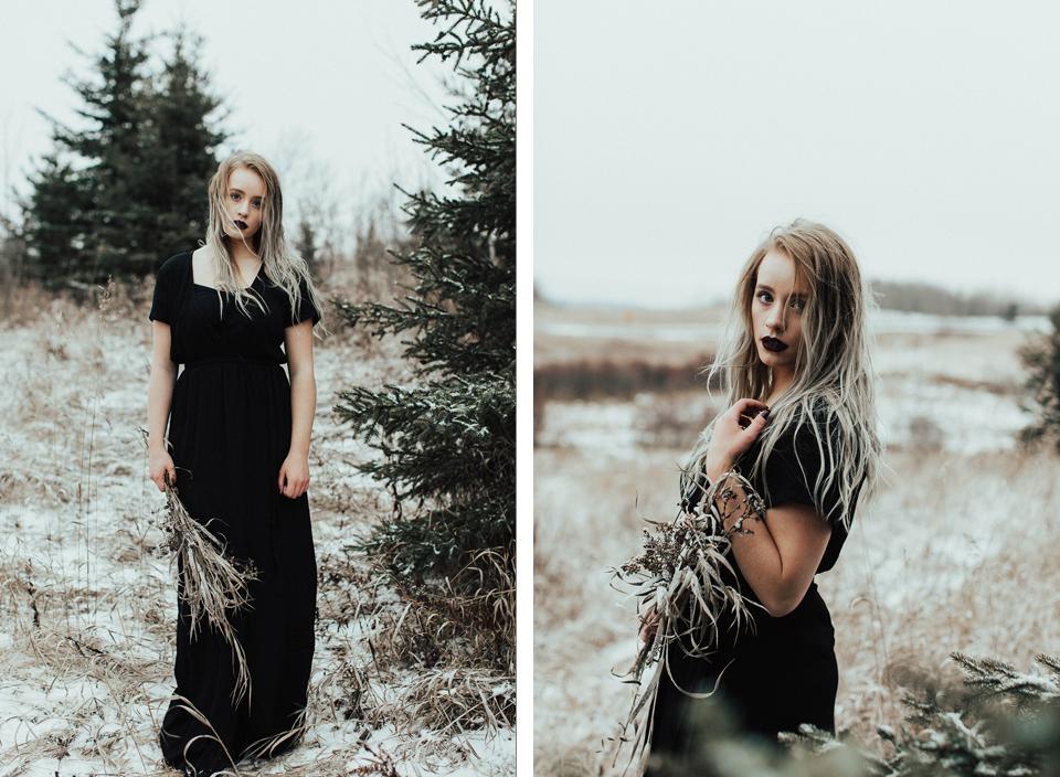 Moody Winter Bridals Edmonton Portrait and Wedding Photographer - Michelle Larmand Photography -060