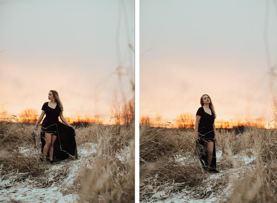 Moody Winter Bridals Edmonton Portrait and Wedding Photographer - Michelle Larmand Photography -066