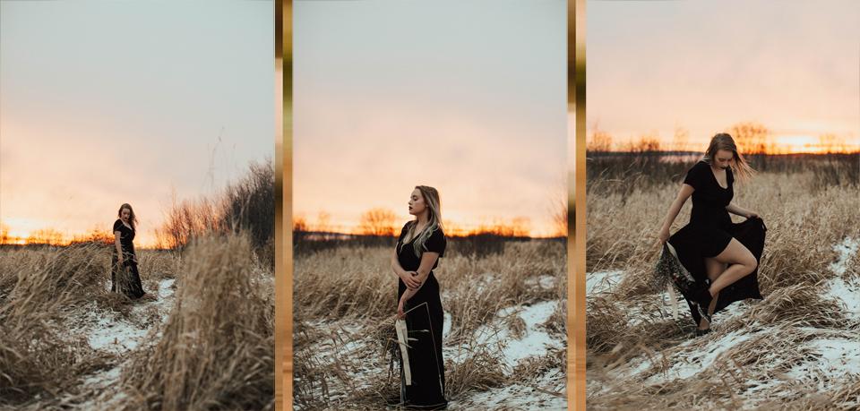 Moody Winter Bridals Edmonton Portrait and Wedding Photographer - Michelle Larmand Photography -070