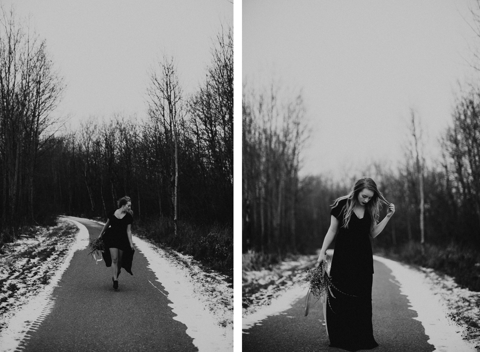 Moody Winter Bridals Edmonton Portrait and Wedding Photographer - Michelle Larmand Photography -073