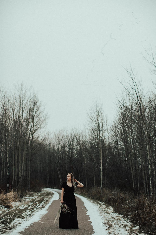Moody Winter Bridals Edmonton Portrait and Wedding Photographer - Michelle Larmand Photography -074