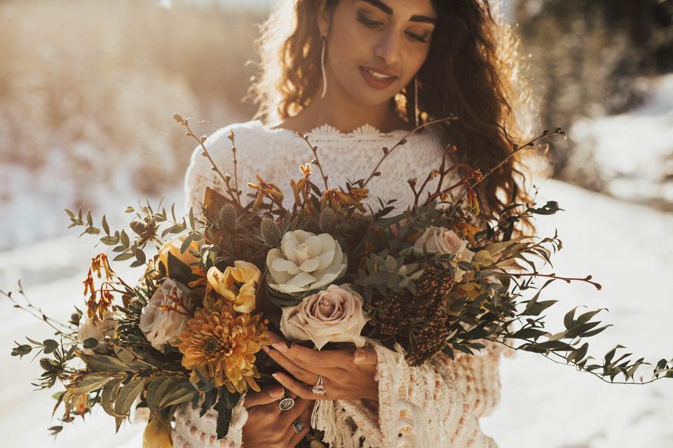 Winter Mountain Bohemain Bridal Inspiration - Michelle Larmand Photography - Banff Wedding Photography -004