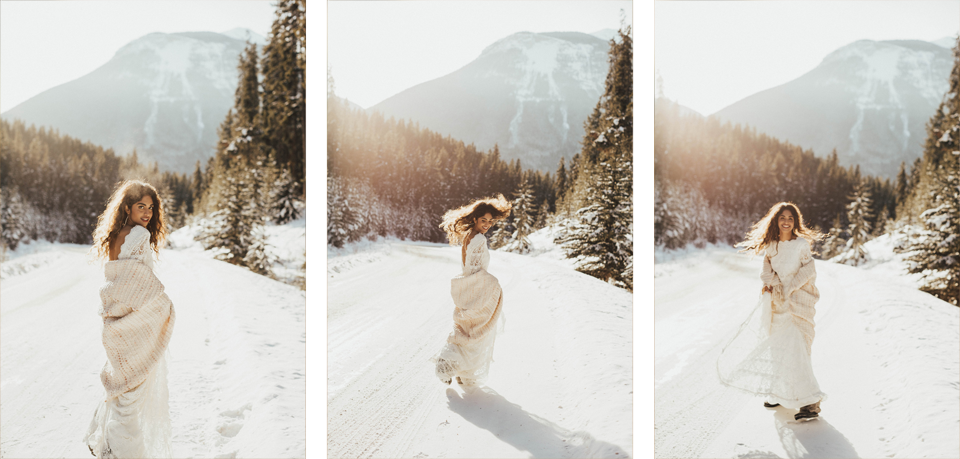 Winter Mountain Bohemain Bridal Inspiration - Michelle Larmand Photography - Banff Wedding Photography -005
