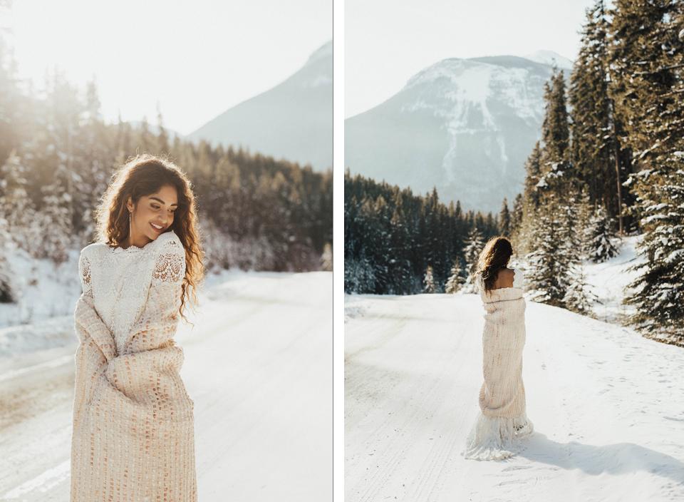 Winter Mountain Bohemain Bridal Inspiration - Michelle Larmand Photography - Banff Wedding Photography -011