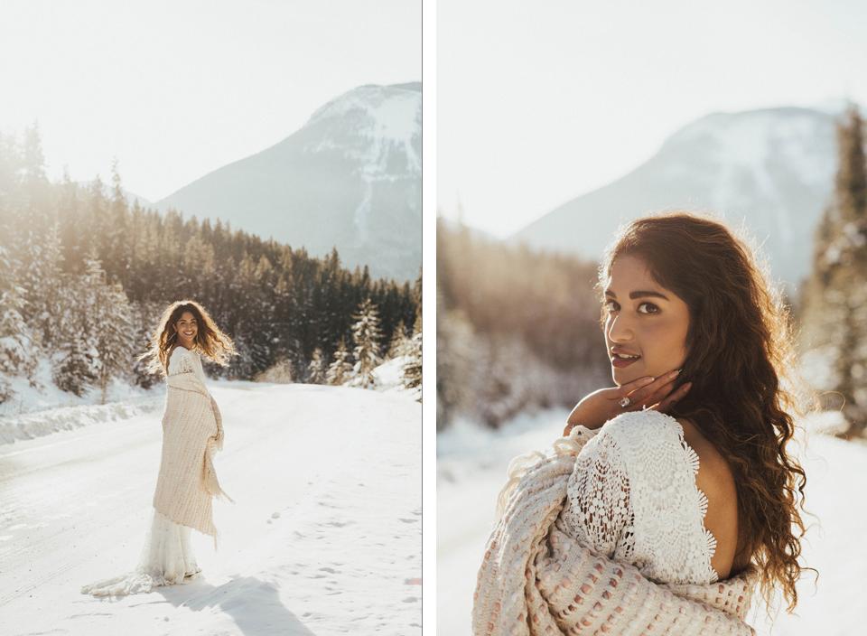 Winter Mountain Bohemain Bridal Inspiration - Michelle Larmand Photography - Banff Wedding Photography -014
