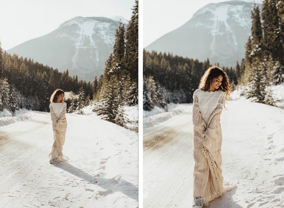 Winter Mountain Bohemain Bridal Inspiration - Michelle Larmand Photography - Banff Wedding Photography -017