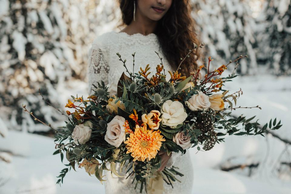 Winter Mountain Bohemain Bridal Inspiration - Michelle Larmand Photography - Banff Wedding Photography -026