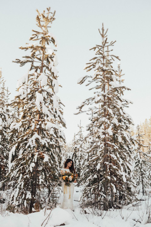 Winter Mountain Bohemain Bridal Inspiration - Michelle Larmand Photography - Banff Wedding Photography -028