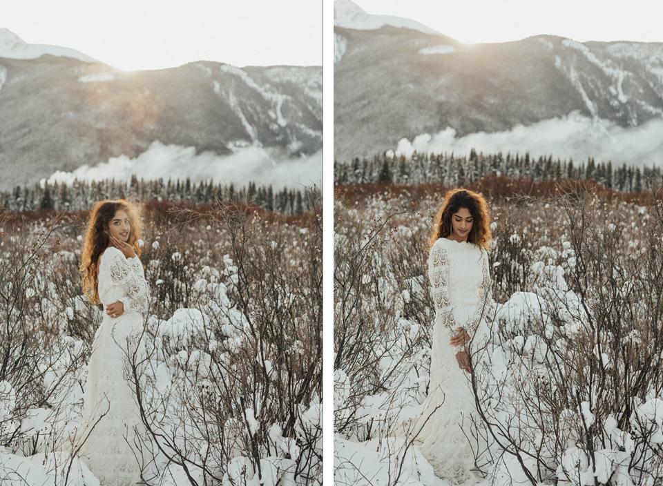 Winter Mountain Bohemain Bridal Inspiration - Michelle Larmand Photography - Banff Wedding Photography -042