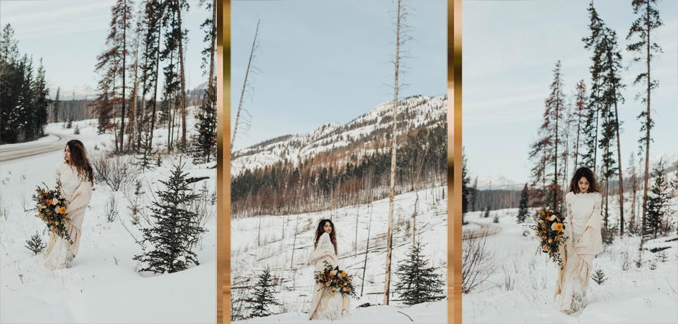 Winter Mountain Bohemain Bridal Inspiration - Michelle Larmand Photography - Banff Wedding Photography -058
