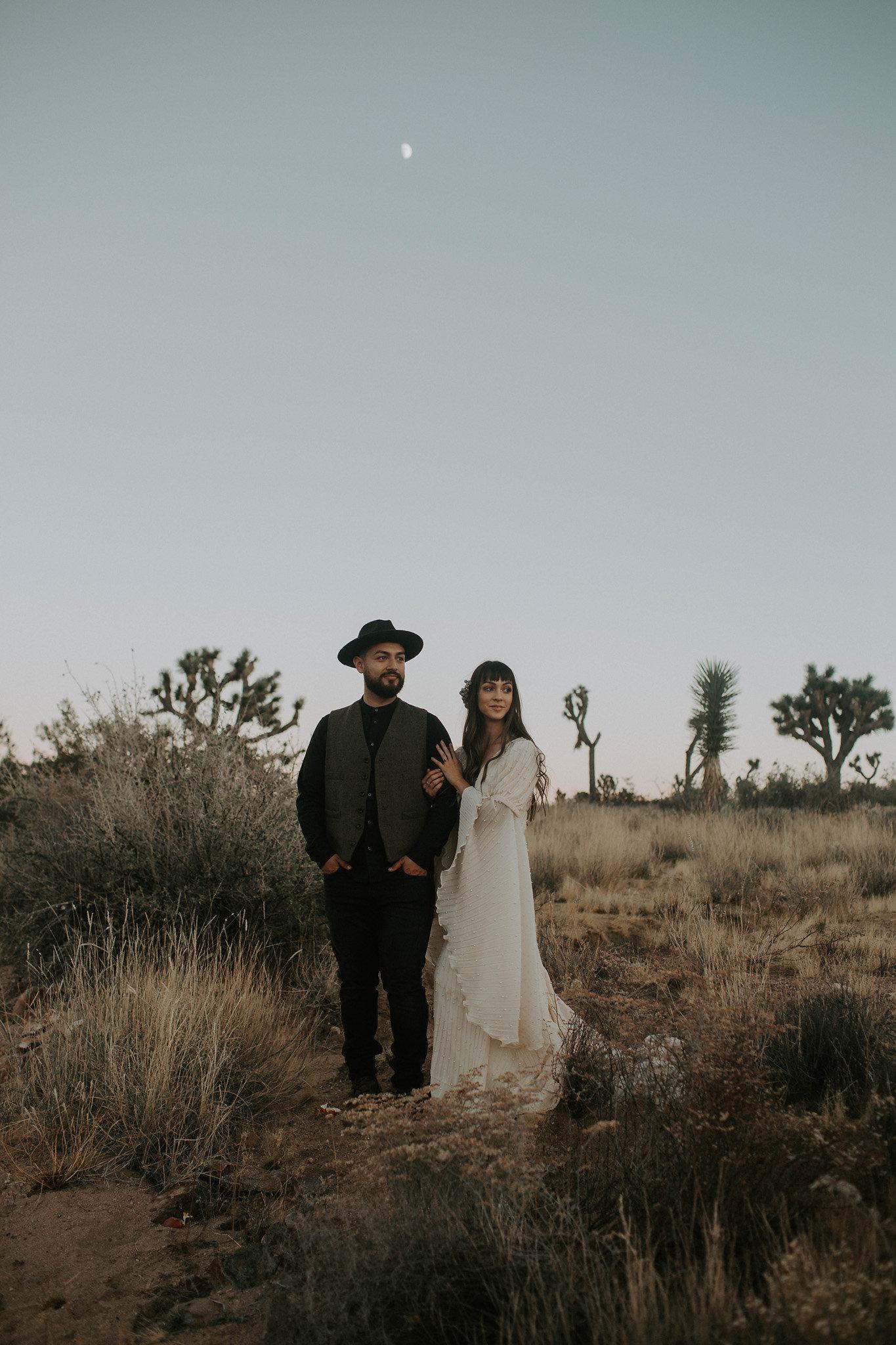 bride and groom portraits Joshua Tree Airbnb Elopement