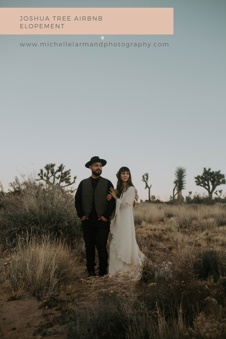 Joshua Tree Airbnb Elopement. Browse the blog for elopement inspiration indoor and outdoor for this styled shoot including, wedding dress inspiration, bridal fashion, groom fashion, wedding details and best place to elope | Photography by Michelle Larmand