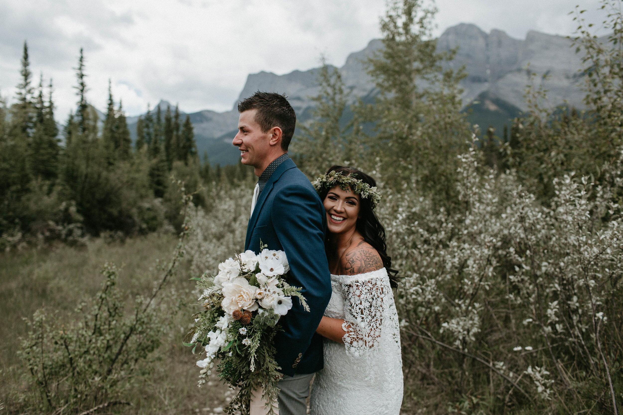 bride and groom portraits - Canmore, Alberta wedding | Michelle Larmand Photography