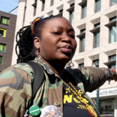 """Laquida Landford - Community Researcher. Laquida - """"Q"""" - is a community health worker, community organizer, and all-around community navigator with roots in Los Angeles and Belize. She is a co-founder of the """"Gentrification is Weird"""" Bike Ride, and is currently leading efforts to create an Afro-Village, by and for houseless Black women."""