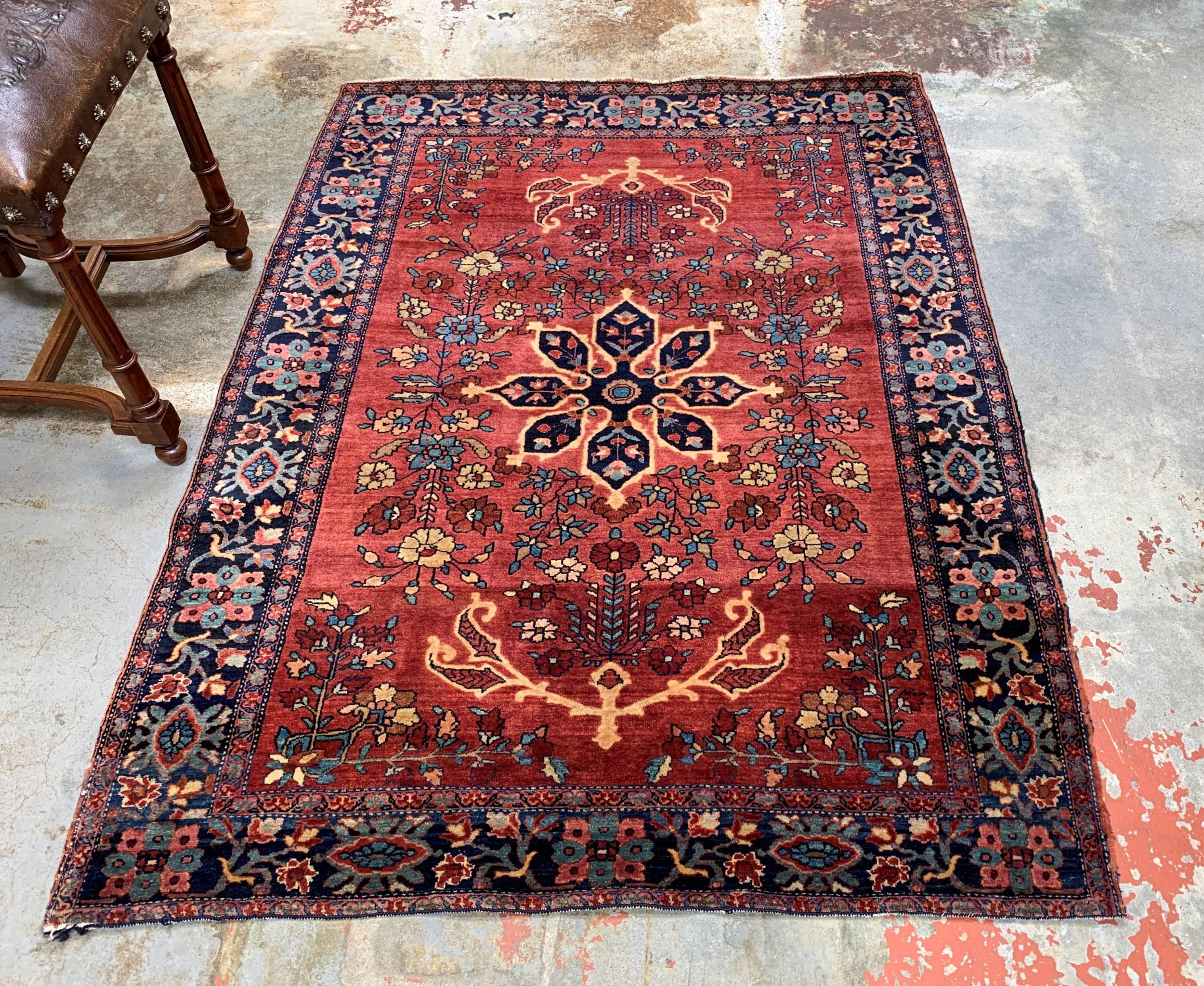 Antique Farahan Sarouk Persian Rug 4x5