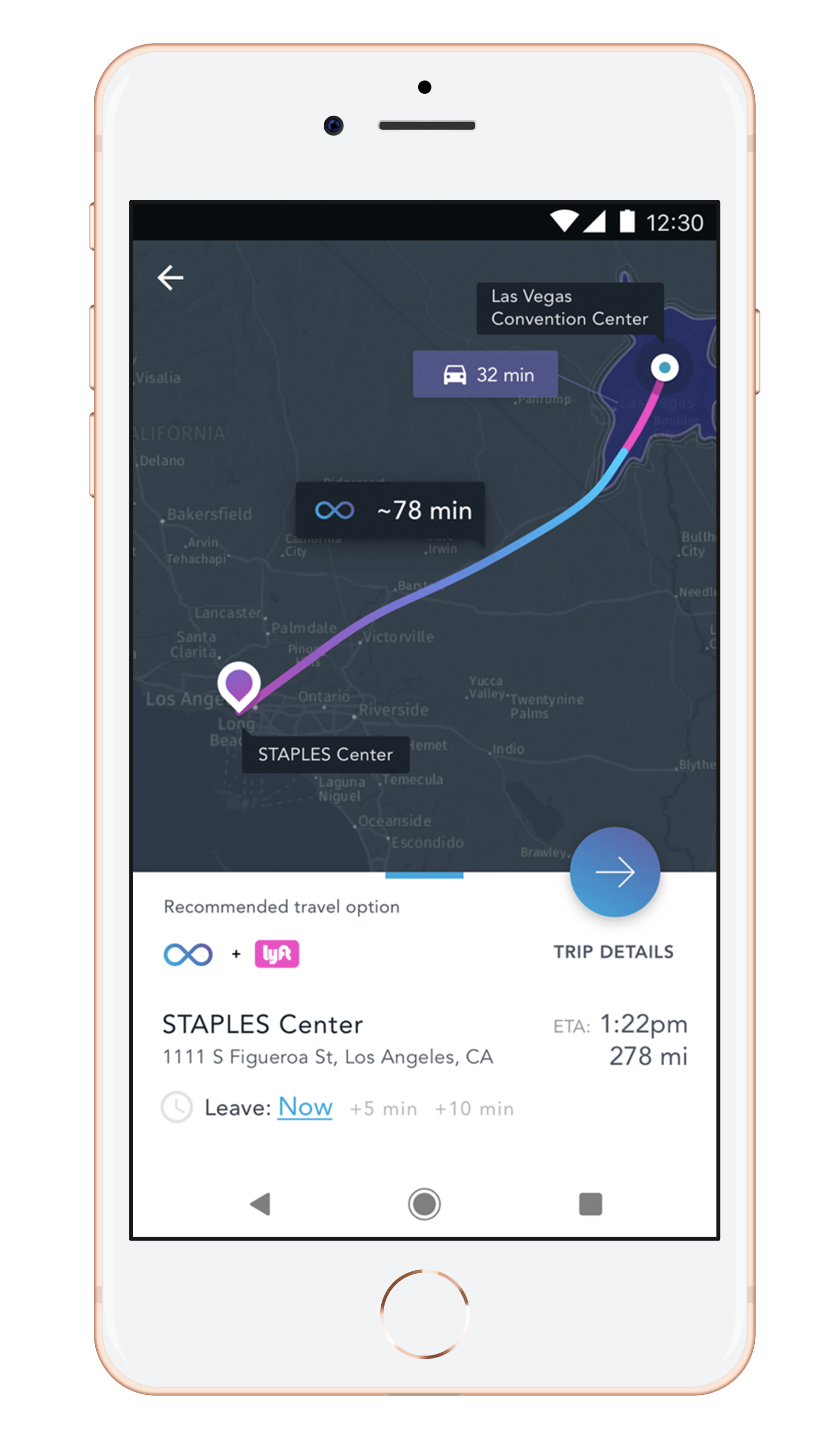 Prototype screen of travel time from Long Beach, CA or Los Vegas, NV, indicating the 32 minute Lyft ride and 78 minute VHO train in a single trip.