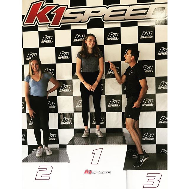 When the parents start loosing against 14 year old girls in go-cart racing 🤣 John doesn't stand a chance - we have 4 more boys who will be this age one day 😬😅 #weold #thisisfourteen