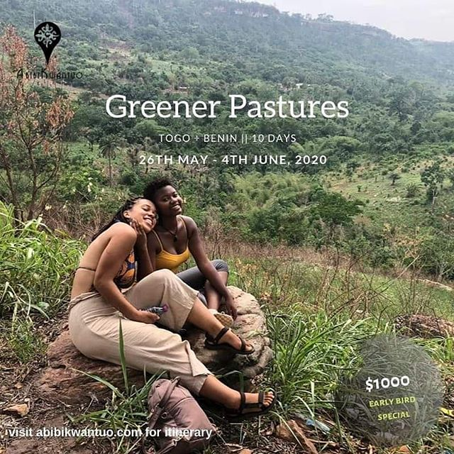 """🌿Join our10 day adventure through Togo and Benin from 26th May to 4th June 2020 (10 days). We have a special $100 early bird discount if you sign up for the trip from now till December 31. We also offer instalment payment options for all our trips. 🌿Fees cover accommodation, transportation and all activities in itinerary. Also included is 3 meal food & beverages while with us as well as access to administrative support. 🌿Highlights of this trip: 👉🏿Travel through Togo and Benin with a group of curious and adventurous Afrikan=Black peoples 👉🏿Connect with local grassroots organisations centered around sustainable farming and Agriculture as well as education. 👉🏿Live, eat and travel as if you were living in Togo and Benin. 👉🏿Meet with local artists and activists in Togo 👉🏿Visit famous learning and natural sites like the Vodun Market (Togo), """"La Porte Du Non Retour"""" (Benin), Kpalime Waterfalls (Togo). 👉🏿Spend a night in the community on stilts, Ganvie (Benin) and learn why the community is built on water. 🌿Visit our website now to sign up! . . . Abibikwantuo is a Black Travel Organisation based in Ghana which offers culturally immersive, fun, educational and financially accessible, group travels that leaves you (re)connected. Visit www.abibikwantuo.com for itineraries and program dates. Link in bio  #blackpacking #blacktravel #blackwomentraveltoo #blackpassportstamps #blackjourney #blackrevolution #travelafrica #travelghana #ghanalife #travelnoire #blackmentoo #blacktraveler #blacklivesmatter #growingupblack #blackfreedom #melanatedpassports #blackliberation #blackpackers #abibikwantuo #blackpride #blackunity #melanin #blackwanderlust #blackwanderer #blackpeopletraveltoo #blackandabroad #blackpeopletravel #yearofreturn2019 #blacktravelgram #yearofreturn"""