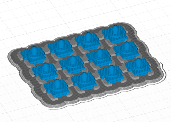12 copies of small plastic part for 3D printing
